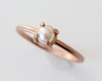 Rose Gold Pearl Stacking Ring - Dainty 14k Rose Gold Ring - Gold Stackable Ring - Prong Set Gemstone - Brushed Finish - Ready to Ship Ring