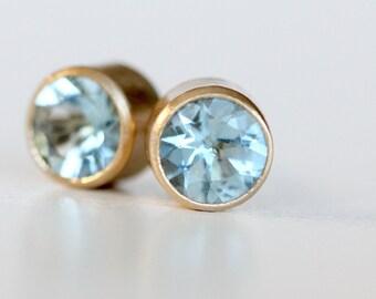 Aquamarine and 14k Yellow Gold Studs - 5mm post gemstone earrings modern brushed finish