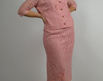 Pink Lace Suit with Single Breasted Jacket and  Pencil Skirt 1950's Suit  Asian Style Pink 50's Suit Size Medium