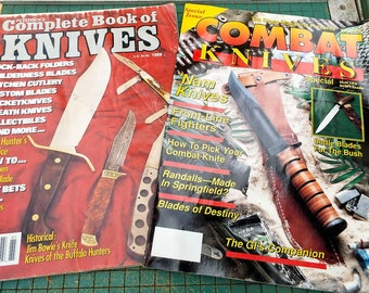 Knife magazines, vintage, 1988 Petersens Complete Book of Knives, 1989 Combat Knives, man cave, survival, knife collector