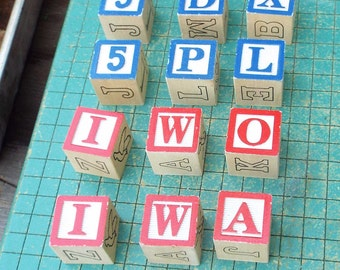 Alphabet Blocks, 12 count, wood blocks, upcycle, recycle, decorate