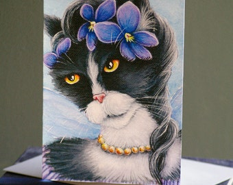 Violet Fairy Cat Card, Fantasy Flower Cat Art, 5x7 Blank Greeting Card
