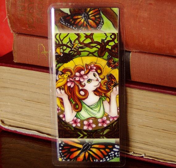 Nature Cat Bookmark, Monarch Butterflies Goldfinch Birds Cat Art Bookmark