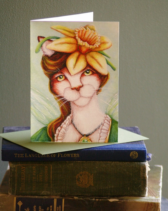 Daffodil Fairy Cat Card, Fantasy Flower Cat Art, 5x7 Blank Greeting Card