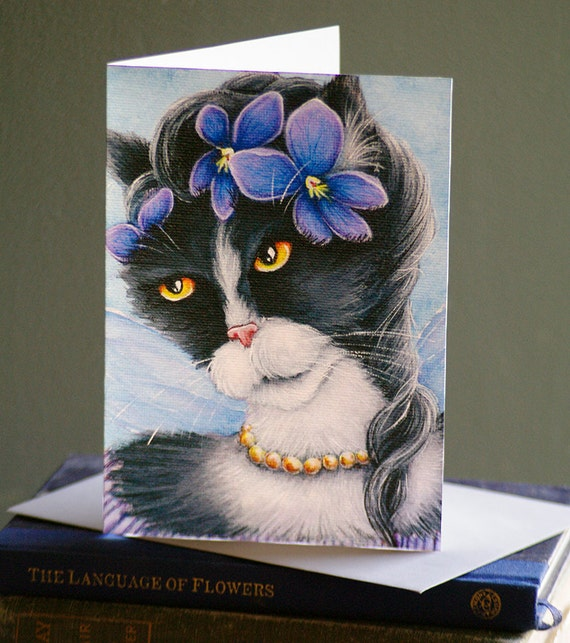 Violet Fairy Cat Card, Fantasy Flower Cat Art, 5x7 Blank Greeting Card
