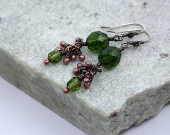 Olive Green Cluster Drop Earrings, Antique Copper, Wire Wrapped, Handmade, Sterling Silver Earwires
