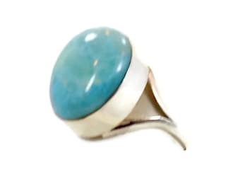 Larimar Ring, Sterling Silver, Vintage Ring, Big Stone, Dolphin Stone, Size 9, Boho Ring, Statement Ring,  InVintageHeaven