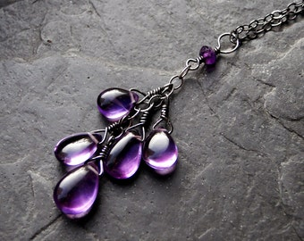 Amethyst Necklace, Oxidized Sterling Silver Necklace - Violet Heart by CircesHouse on Etsy