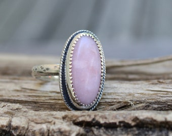 Pink Peruvian Opal Ring, Sterling Silver, Size 7 1/2, Gemstone Ring