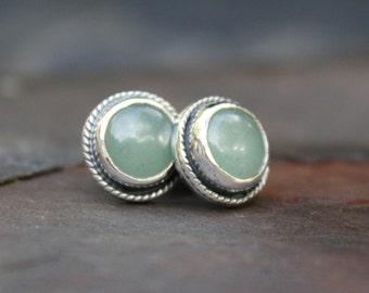 Handmade Green Aventurine Ear Studs Sterling Silver Semi Precious Gemstone