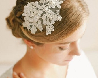 Silver lace headband, bridal lace headand, wedding headpiece, wedding hair - style 241