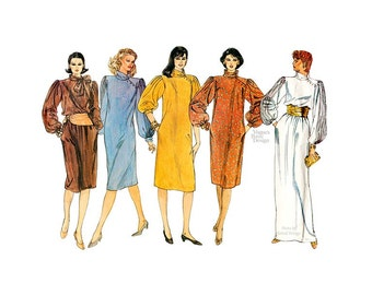 1980s Plus Size Dress Pattern, Vogue 1017, Loose Fitting Pullover, Asymmetrical Short or Long Dress Vintage Sewing Pattern, Bust 42 Uncut FF