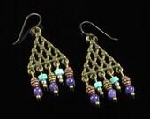 Boho Triangle Earrings - Boho Jewelry - Gypsy Dangle Earrings - Tribal Earrings - Brass Earrings - Niobium earrings - Jewelry Gift for Women