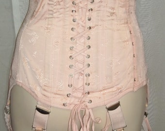 Vintage Pink Peach Corset Boning Tummy Control Lace Up Girdle Garters