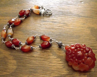 """Carnelian Necklace with Carved Carnelian Pendant and Sterling Silver, Boho Chic Necklace """"Orange Ombre"""""""