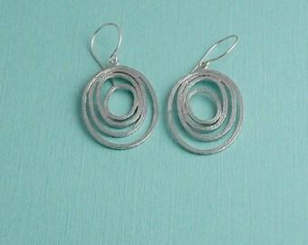 Silver Hoop earrings / Multi hoop earrings / Silver matte hoops
