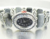 Cat's Eye and Aurora Borealis Silver Accented Beaded Stretchy Bracelet Watch with Aurora Borealis Watch Face