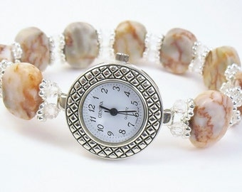 Beaded Bracelet Watch - Redline Marble and Faceted Crystal Glass Stretchy Bracelet Watch