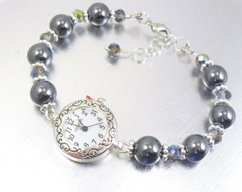 Beaded Bracelet Watch - Hematite and Vitrail Crystal Glass Bracelet Watch