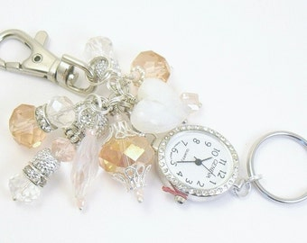 Bold Pink, White and Silver Cluster Beaded Key Chain, Purse Embellishment, Zipper Pull, with or without Watch Face