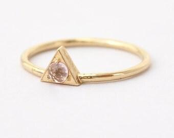 Morganite Engagement Ring: Rose Cut, Geometric Triangle