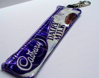 Candy Wrapper Purse - UPCYCLED Cadbury Dairy Milk candy bar wrapper RECYCLED into key ring coin purse