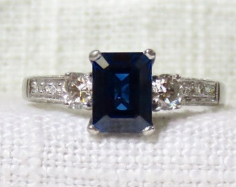 Stunning Platinum Blue Sapphire and Diamond Engagement Ring 2.39 Carats