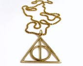 Harry Potter Deathly Hallows Bronze Pendant 90cm Thick Ball Chain