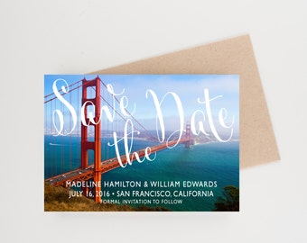 Golden Gate Bridge Save The Date, San Francisco, Destination WeddingWedding Announcement