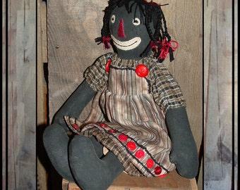 Primitive Folk Art hand embroidered black raggedy doll braids HAFAIR OFG red buttons faap