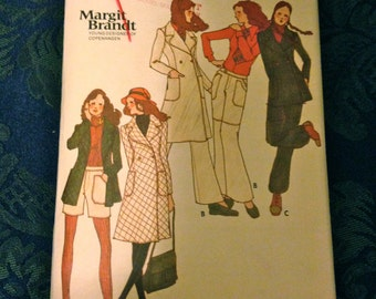Vintage 1970's Pattern Butterick 6462 Young Designer of Copenhagen Margot Brandt Coat Jacket Pants Shorts Size 16 Bust 38