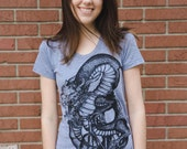 Dragon on a bicycle t-shirt - American Apparel Ladies Tee