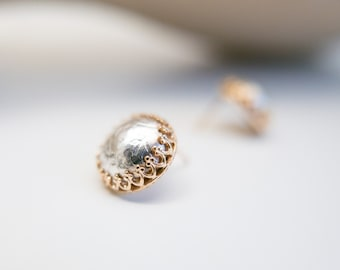 Silver and Gold Earrings Post Studs High End Fine Jewelry Fine Silver Solid Gold Princess Earrings Royal Design Gift for Her Wife Girlfriend