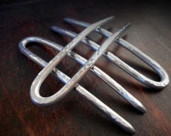 TriForce Hair Pins, set of 3 aluminum 8 gauge hair pins, made to order, hammered metal, hair accessories, metal hair fork, hair stick, woman