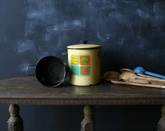 Vintage Tall Pan With Insert Strainer Yellow With Graphics 70s or 60s From Nowvintage on Etsy
