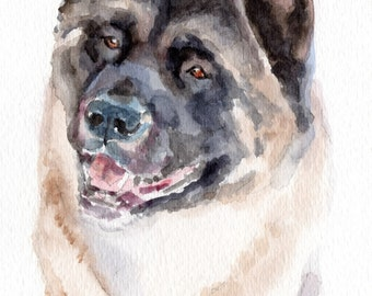 AKITA Original Watercolor Double Matted 8x10 Ready to Frame