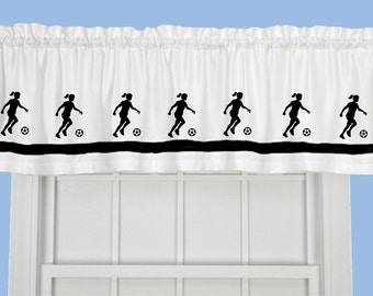 Soccer Player (Girl) Window Valance/Window Treatment - Your Choice of Colors