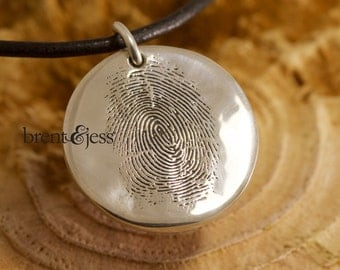 Finger Print Necklace in Sterling Silver a beautiful piece of Fingerprint jewelry