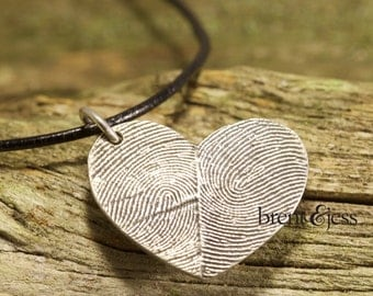 Sterling Silver Custom Double Thumbprints Heart Necklace or Charm, Handcrafted Fingerprint Jewelry