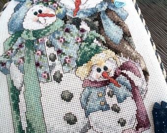 """Cross Stitch Snowman, Snowman Trio, Flat Ornament, Winter Wall Decor, Tree Ornament, 10"""" Wall Hanging, Cross Stitch Ornament"""