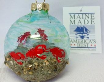 Christmas Ornament, Maine Lobsters, beach sand & rocks