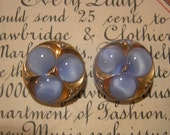 Moonglow Buttons - Vintage Blue and Gold Molded Glass  - Set of 2