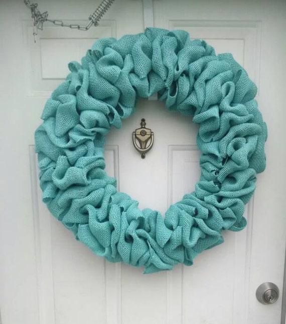 Diy Wreaths For Front Door: Teal Burlap Wreath 22 Inch DIY Wreath Front Door Wreath