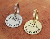 Small personalized cat or dog ID tag - Handstamped round