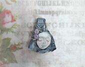 art to wear bead - ceramic pendant,  pendant necklace ,face pendant, OOAK pendant,    # 47