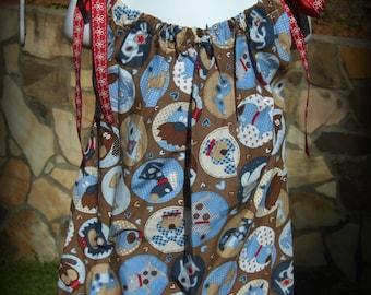 Girls' Brown and Blue Doggie Print Pillowcase Dress