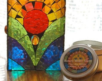 Stained Glass Mosaic Luminary and Scented Soy Candle