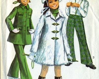 Vintage 60s Simplicity 8478 Girls Mini Coat, Bell Bottom Pants and Hat Sewing Pattern Sizes 6
