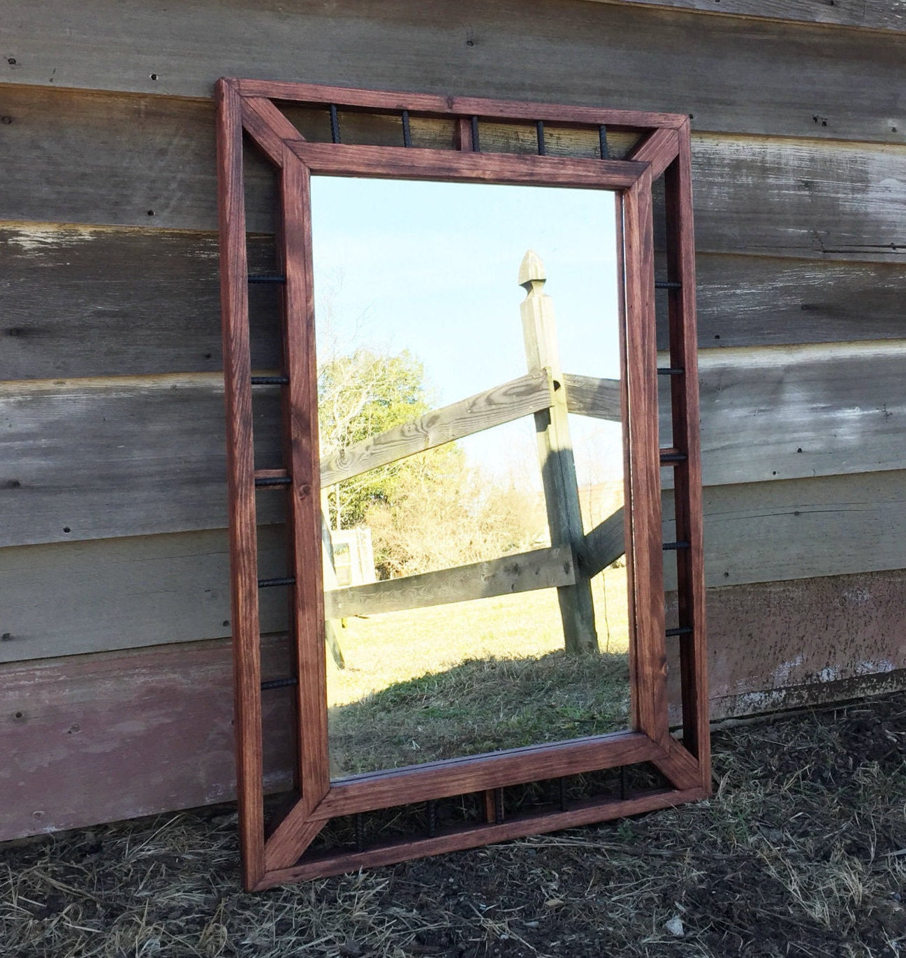 Industrial mirror rustic home decor modern rustic mirrors for Rustic mirror