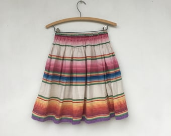 Vintage 80s Guatamalan Colorful Striped Serape Skirt S